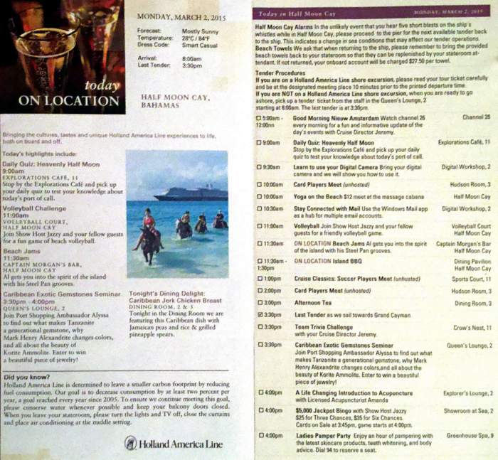 Daily Programs From A Caribbean Cruise On Holland America