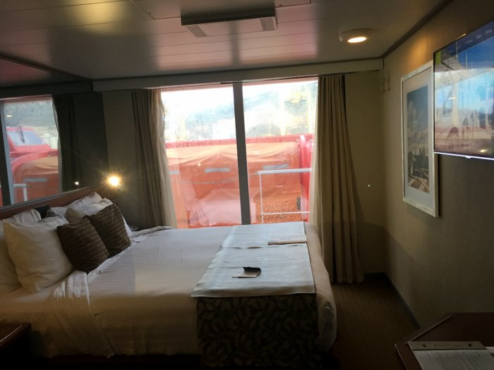 A Look Inside An Obstructed Ocean View Stateroom On